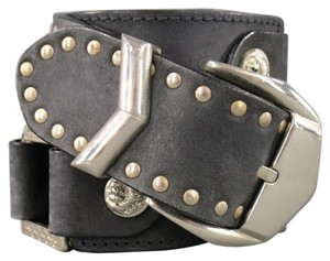 Versus Versace by GIANNI VERSACE Size 34 Black Silver Studded Lion Head Belt