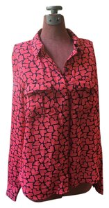 Forever 21 Hearts Shirt Valentinesday Love Button Down Shirt Pink & Dark Blue