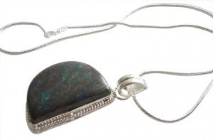 Handmade Natural Shiny Sea Sediment Jasper Sterling Silver Necklace Pendant