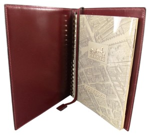 Hermès Vintage HERMES Burgundy Leather 'Adresses' Address Book