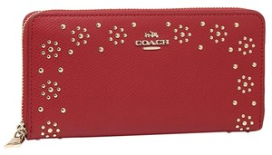 Coach BNWT Coach F53636 Border Studded Accordion Zip Wallet Classic Red