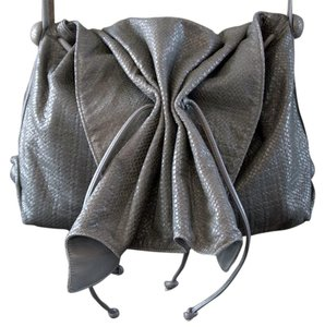 Carlos Falchi Leather Snakeskin Gray Hobo Bag