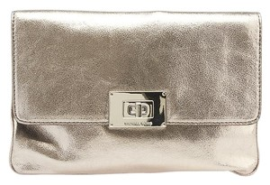 Michael Kors Leather Silver Clutch