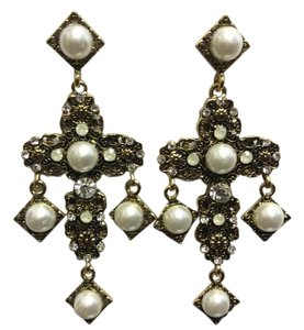Cross Style Post Earrings Antique Gold Glass Pearls and Crystals