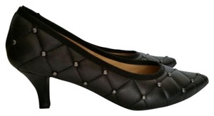 Neiman Marcus Pointed Toe Studded Quilted Black with Silver Studs Pumps