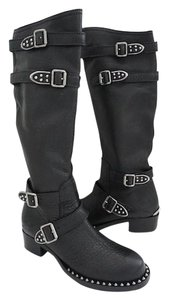 Miu Miu Designer Size 10 Motorcycle Leather Black Boots