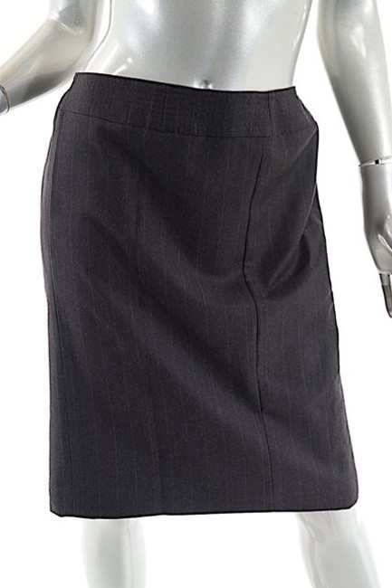 Chanel 2001a Wool/Cashmere Striped Skirt Brown Image 3