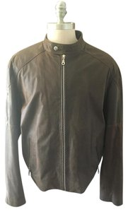 Silvia y Mario Bomber Leather Man Brown Leather Jacket