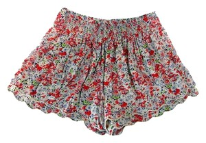 Free People High Waisted Frayed Ruffled Floral Mini/Short Shorts Multi