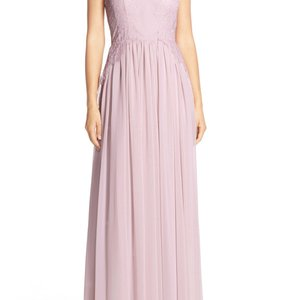 Donna Morgan Palest Pink Chiffon Feminine Bridesmaid/Mob Dress Size 8 (M)