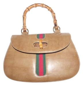 Meyers High-end Bohemian Satchel in tan with red/green stripe & bamboo handle