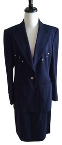 Escada Navy Blue Wool Jacket and Skirt Suit with Silver Star Embellishment