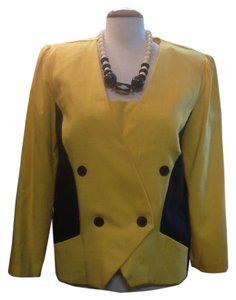Other Double Breasted Linen Look Vintage Yellow and Black Blazer