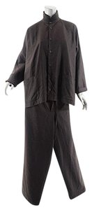 Eskandar ESKANDAR Chocolate Brown 100% Wool B/D Shirt + Drawstring Pant Set