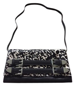 Michael Kors Calf Hair Shoulder Black and White Clutch