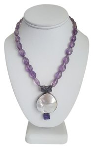 ExEx ExEx White Marble Pendant and Purple Chain Necklace