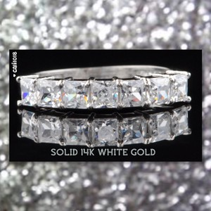 New 1.80ct Princess Simulated Certified Stones 14k White Gold Band