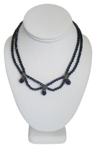 Other Black Stone Necklace with Silver Accents