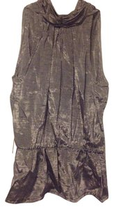 All That Jazz Vintage Peplum Sleeveless Metallic Top Silver
