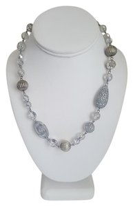 Silver Round Stone Necklace