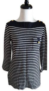 Tory Burch Blue Striped Gold Top Navy and White