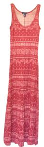 Rusty red with subtle cream design Maxi Dress by American Living