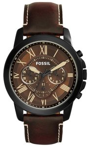 Fossil BNWT Fossil FS5088 Men's Chronograph Brown Watch Leather Strap