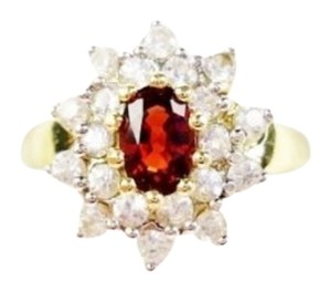 Burmese Fiery Red Spinel & White Zircon Gemstone Ring 10k Yellow Gold