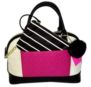 Betsey Johnson Dome Cross Body Quilted Bows Satchel in bone/black/fuchsia