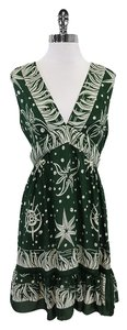 Anna Sui short dress Green White Oceanic Silk Sleeveless on Tradesy
