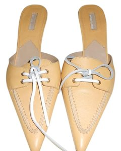 Michael Kors Leather Yellow and white Mules