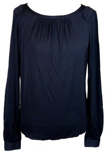 Tory Burch Silk Ashlee Top Navy Blue