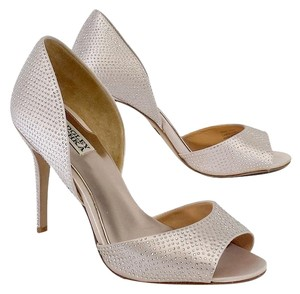 Badgley Mischka Light Pink Satin Rhinestone Heels Sandals