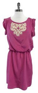 Tibi short dress Amaranth Pink White Beaded Silk Short Sleeve on Tradesy