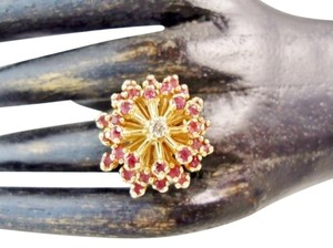 Franklin Mint Vintage 14k Yellow Gold Ruby & Diamond Cocktail Ring Size 5.5