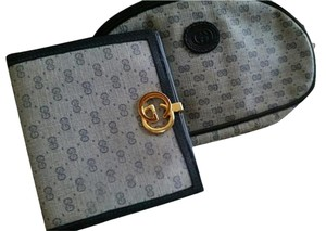 Gucci Leather Monogram Vintage Navy Blue Clutch