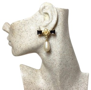 Chanel Vintage Camellia Enamel and Glass Pearl Drop Earrings