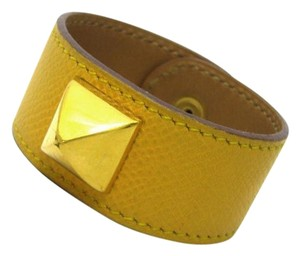Hermès Hermes Yellow Studded Leather Bracelet