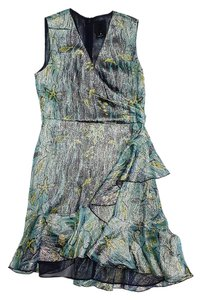Anna Sui short dress Blue & Green Metallic Fish Print Silk Sleeveless on Tradesy