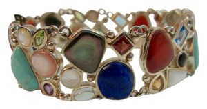 Other Semi-Precious Gems Sterling Silver BRACELET Turquoise Lapis Carnelian