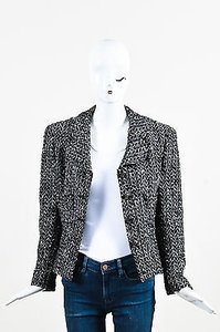 Chanel 97a Wool Tweed Cc Buttons Ls Black, White, Gunmetal Jacket