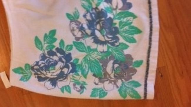CAbi Vintage Tablecloth Fabric Trim Rose Roses 10 Lined Medium Med M Fully Lined Summer Wedding Shower Work Garden Garden Skirt white with blue floral