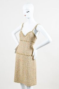 Chanel Vintage Boutique 94p Gold Multicolor Tweed Sheath Dress