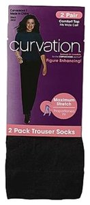 Curvation Curvation Women's 2X Plus 2-Pairs Comfort Top Trouser Socks-Chevron