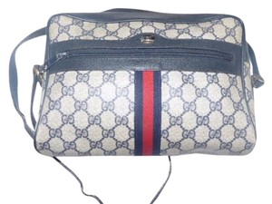 Gucci Gold Hardware Red/navy Large G Logo Accessory Col Cross Body Bag