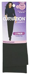 Curvation Curvation Women's 1X Plus 2-Pairs Comfort Top Trouser Socks-Lined