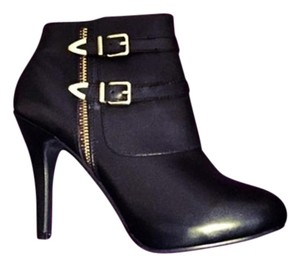 Me Too Leather Gold Zipper Bootie Black Boots