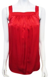 St. John Sleeveless Silk Stretchy Xs Top RED