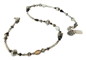 Tres Jolie Accessories Silver, pearl stone & onxy beads necklace