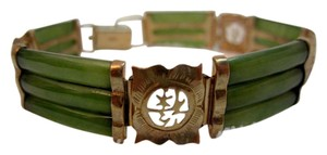 Other Vintage Asian 14 kt Gold & Jade Bracelet --Exquisite!